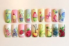 A bunch of examples and ideas for summer nail design with food drawings. Pop Art Nails, Gel Nail Art, Nail Art Diy, Diy Nails, Cute Nails, Beach Nail Art, Nail Design Stiletto, Feet Nail Design, Food Nail Art