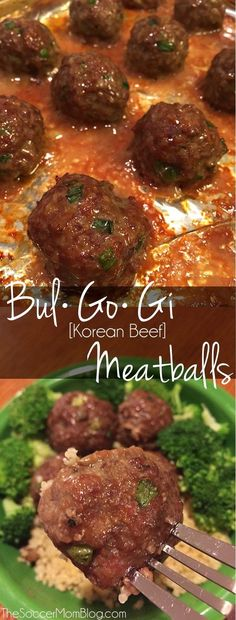 """Korean BBQ Meatballs You've never had a meatball like this before! This recipe for Korean Beef Bulgogi Meatballs is a deliciously sweet and savory spin on a traditional favorite. (The """"secret"""" ingredient MAKES them! Bulgogi, Korean Beef Recipes, Ground Beef Recipes, Asian Recipes, Meatball Recipes, Meat Recipes, Cooking Recipes, Korean Bbq Meatballs, Korean Dishes"""