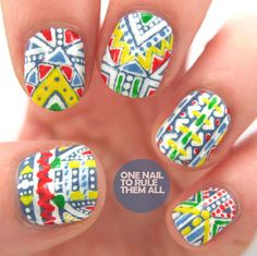 Bright Aztec pattern nails - these will work perfectly with our key summer trends