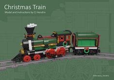 LEGO MOC Motorized and Improved Christmas Train - Locomotive and Tender Only by seejay   Rebrickable - Build with LEGO Lego Christmas Train, Holiday Train, Lego Trains, Lego Parts, Group Of Companies, Lego Moc, Steam Engine, Winter Holidays, Locomotive