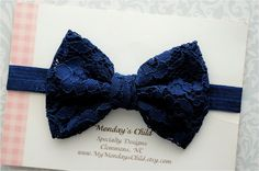 Navy Blue Lace Bow Headband Navy Blue Bow by MyMondaysChild