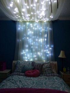 Image via We Heart It #bedroom #blue #dreamroom #lights #pretty