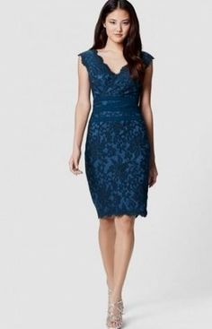 Vera Wang Scalloped Lace A-Line Gown | Casual formal dresses and ...