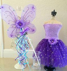 Purple Tutu Fairy Costume Fairy Wings Little by partiesandfun