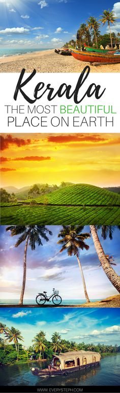 Why Kerala, India, must be the most beautiful place on Earth. An introduction to Kerala through the 5 senses. Backwaters, houseboats, the Munnar tea plantations, beaches, and temples...Kerala is all of this and much more!     India Travel Tips   Travel Inspiration   Kerala Saree   a post by Every Steph