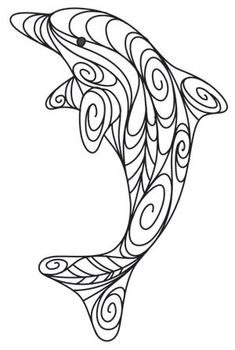 Doodle Dolphin design could be used for quilling Arte Quilling, Quilling Designs, Paper Quilling, Quilling Ideas, Free Quilling Patterns, Quilling Comb, 3d Paper, Coloring Book Pages, Coloring Sheets