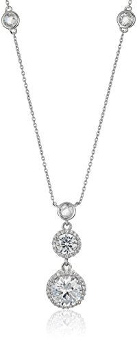 Sterling Silver Triple Drop Cubic Zirconia Pendant Enhancer Necklace 18 -- Find out more about the great product at the image link.