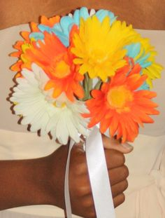 Daisy Bridal Bouquet with matching by SilkFlowersByJean on Etsy, $25.00