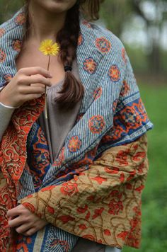 cotton kantha throw made from vintage sari cloth from Hand & Cloth