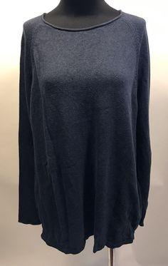 pureJill Dark Blue Cotton Cashmere Long Sleeve Thin Knit Boatneck Sweater L Euc #pureJillbyJJill #BoatNeck #Work
