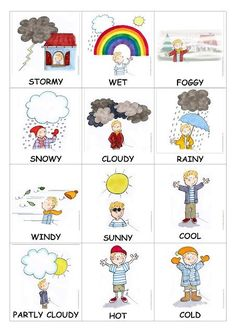 fun weather crafts and activities for preschool - Calculating Infinity - Kids English, English Study, English Class, English Words, English Lessons, English Grammar, Teaching English, Learn English, English Language