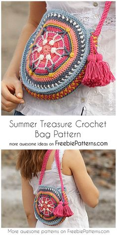 crochet handbags Hi, today I have for you the Summer Treasure Crochet Bag Pattern! This beautiful, multicolored handbag will be an ideal addition to every summer style. Free Crochet Bag, Crochet Purse Patterns, Crochet Shell Stitch, Crochet Gifts, Knitting Patterns, Crochet Bags, Crochet Summer, Crochet Clothes, Crochet Baskets