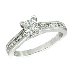 1/3 CT Princess-Cut Diamond Engagement Ring in 10K Solid White Gold #affinityjewelry #Engagement
