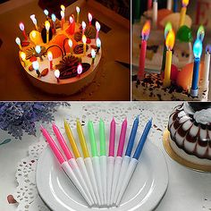 NEWLY 10 Pcs New Birthday Cake Candles Colored Angel Flame Safe Party Decor Hot