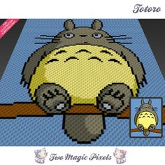 Totoro crochet blanket pattern; c2c, knitting, cross stitch graph; pdf download; no written counts or row-by-row instructions by TwoMagicPixels, $3.79 USD