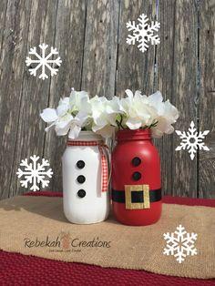 Santa Claus y muñeco de nieve Mason Jars por RebekahCreations
