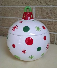 Vintage Ornament Cookie Jar / Canister by Real Home - Red, Green and White Snowflakes and Polka Dots - Christmas, Holiday Decor by ClassyVintageGlass on Etsy