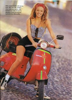 Glossy Sheen: Bustin' Out - Dolly October 1990 Lambretta Scooter, Scooter Motorcycle, Motorbike Girl, Vespa Scooters, Rockabilly Fashion, 90s Fashion, Vintage Fashion, Rockabilly Style, Vespa Girl