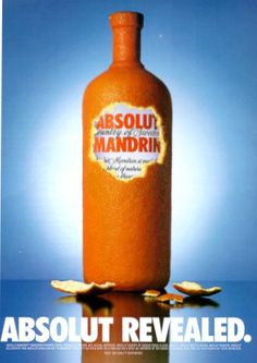 """Absolut Revealed."" This is an original 1999 color print ad for Absolut Mandrin Vodka. Photography by Steve Bronstein. CONDITION This 12+ year old Item is rated Very Fine +++. No aging. No natural def"