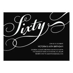 60th birthday invitations formal faux gold pinterest 60th black and white 60th birthday invitations filmwisefo