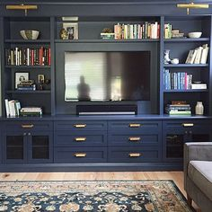 Monday blues Painting this custom designed by me in a dark colour benjaminmoore Hale Navy one of my favourite blues helps Built In Tv Cabinet, Tv Built In, Bookshelves Built In, Built In Cabinets, Painted Built Ins, Bookcases, Built In Tv Wall Unit, Tv Bookcase, Built In Media Center