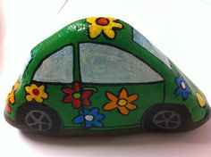 Flower Power Car Hand Painted Rock Art by RockYourImagination