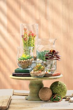 Make your own terrarium with a well-chosen succulent stem and a basic clear vase. Pour river rocks n the bottom of the container, and then tuck in the plant for pretty table-top decor.