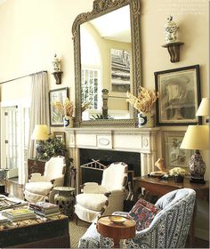 striped curtains, mirror, slipped bergeres, color palette, texture (house tour)