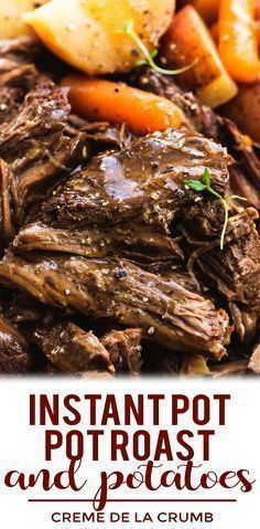 Juicy and tender instant pot pot roast and potatoes with gravy makes the perfect family-friendly dinner. This easy one pot dinner recipe will please even the picky eaters! Roast Beef And Potatoes, Beef Pot Roast, Roast Beef Recipes, Easy Pot Roast, Instapot Roast Beef, Pot Roast Gravy, Healthy Crockpot Pot Roast, Slow Cooker Beef Roast, Roast Beef Dinner