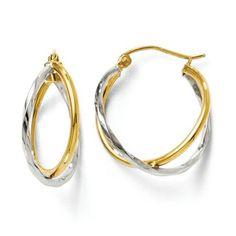 Two Tone Double Hoop Earrings https://www.goldinart.com/shop/earring/14k-earrings/two-tone-double-hoop-earrings #14KaratYellowAndWhiteGold, #HoopEarrings