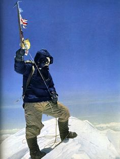 Sherpa Tenzing Norgay of Nepal reaches the summit of Mt. Everest at 11:30 AM on May 29, 1953. Edmund Hillary actually stood on the summit first but insisted only a photo of Norgay be taken with the flag at the summit.