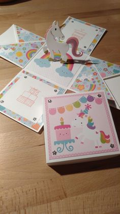 Einhorn Explosionsbox Magic Box, Scrapbook Box, Scrapbooking, Diy Exploding Box, Card In A Box, Box Invitations, Unicorn Crafts, Cute Box, Marianne Design