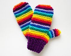 Purple Rainbow Pixie Mittens  Colourful Kid's by StripyKite