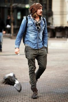Nice relaxed style. Slim army pant with a denim button down. Awesome slouchy beenie.