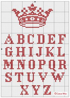 "do this or the Zombie ""Keep Calm"" - crown and alphabet cross-stitch pattern {DIY ""keep Calm and. Cross Stitch Letters, Cross Stitch Samplers, Cross Stitch Charts, Cross Stitch Designs, Cross Stitching, Cross Stitch Embroidery, Cross Stitch Letter Patterns, Hand Embroidery, Alphabet Au Crochet"