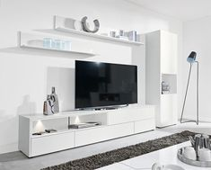 Modern wall storage system in matt white TV unit & tall cabinet