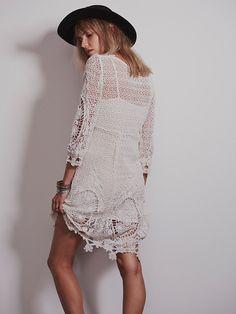 #Free_People #Lace_Dress имитация вязания крючком    #Machine_made_crochet
