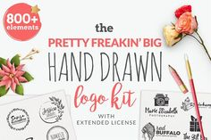 Big Hand Drawn Logo Kit by Brandi Lea Designs on @creativemarket