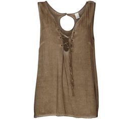Yee top - VILA Clothing ❤ liked on Polyvore featuring tops, shirts, tanks, brown shirt, vila, shirts & tops and brown tops