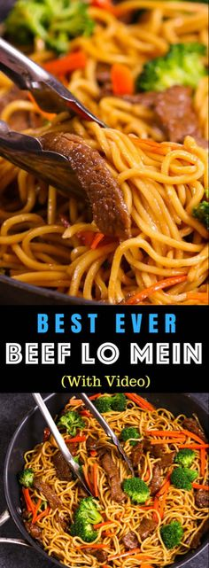 This Garlic Beef Lo Mein is a quick and easy version of classic Chinese dish. It's so much better than takeout and seriously addictive with tangy garlic and soy sauce flavors, the perfect weeknight dinner idea you can make in 20 minutes! Authentic Chinese Recipes, Chinese Chicken Recipes, Easy Chinese Recipes, Easy Dinner Recipes, Asian Recipes, Easy Meals, Chinese Beef Dishes, Asian Foods, Rinder Steak