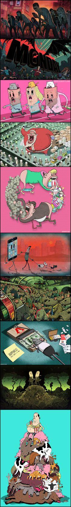 Imagens Ilustrando As Realidades Inconvenientes Da Sociedade