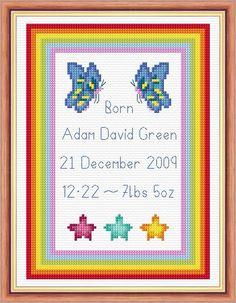 Baby Cross Stitch Birth Samplers | ... -stars-border-baby-birth-sampler-14-count-cross-stitch-2235-p.jpg