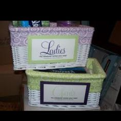 Wedding Tip of the Week: Restroom Hospitality Baskets. Simple thing that your guests will thank you for. : Wedding Tip of the Week: Restroom Hospitality Baskets. Simple thing that your guests will thank you for. Diy Bathroom Baskets, Bathroom Basket Wedding, Wedding Baskets, Wedding Tips, Wedding Details, Our Wedding, Wedding Planning, Wedding Week, Wedding Paper
