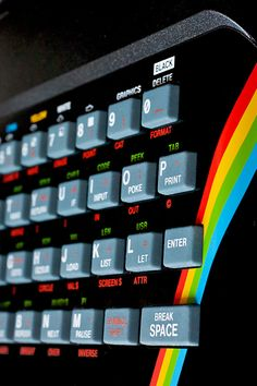 Close-up of the Sinclair ZX Spectrum, with its characteristic rubber keys. An iconic 8-bit 'home computer', almost as popular as its big rival, the Commodore 64.