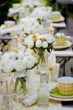 Yellow and white gingham tablescape - afternoon tea