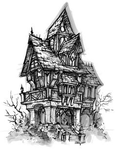 10 Best Haunted House Drawing Images House Drawing Haunted House Drawing Haunted House