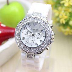 Rubber white band rhinestones design unisex teen watch