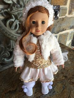 """White Fur Sequin Coat Fits 18/"""" American Girl Doll Clothes"""