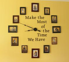 I saw a photo clock somewhere else and decided to tweak it to fit my personality better. This is a fun way to display your photos and can be cheaper than purchasing your own large wall clock...click the photo to check out my blog post!