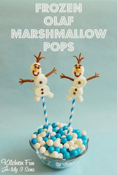 Easy Olaf Marshmallow Pops from the Disney movie Frozen!